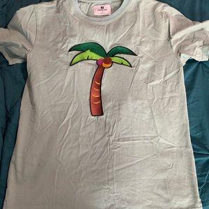 Palm Tree Embroidered Tee Sz M